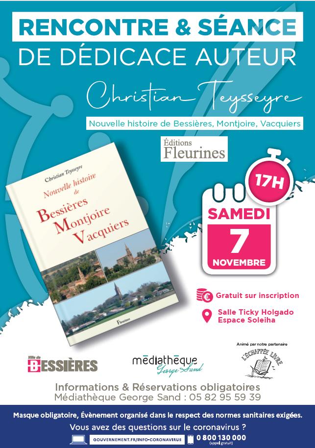 ANNULATION Rencontre-Dédicace : Histoire de Bessières par Christian Teysseyre samedi 7 novembre 2020
