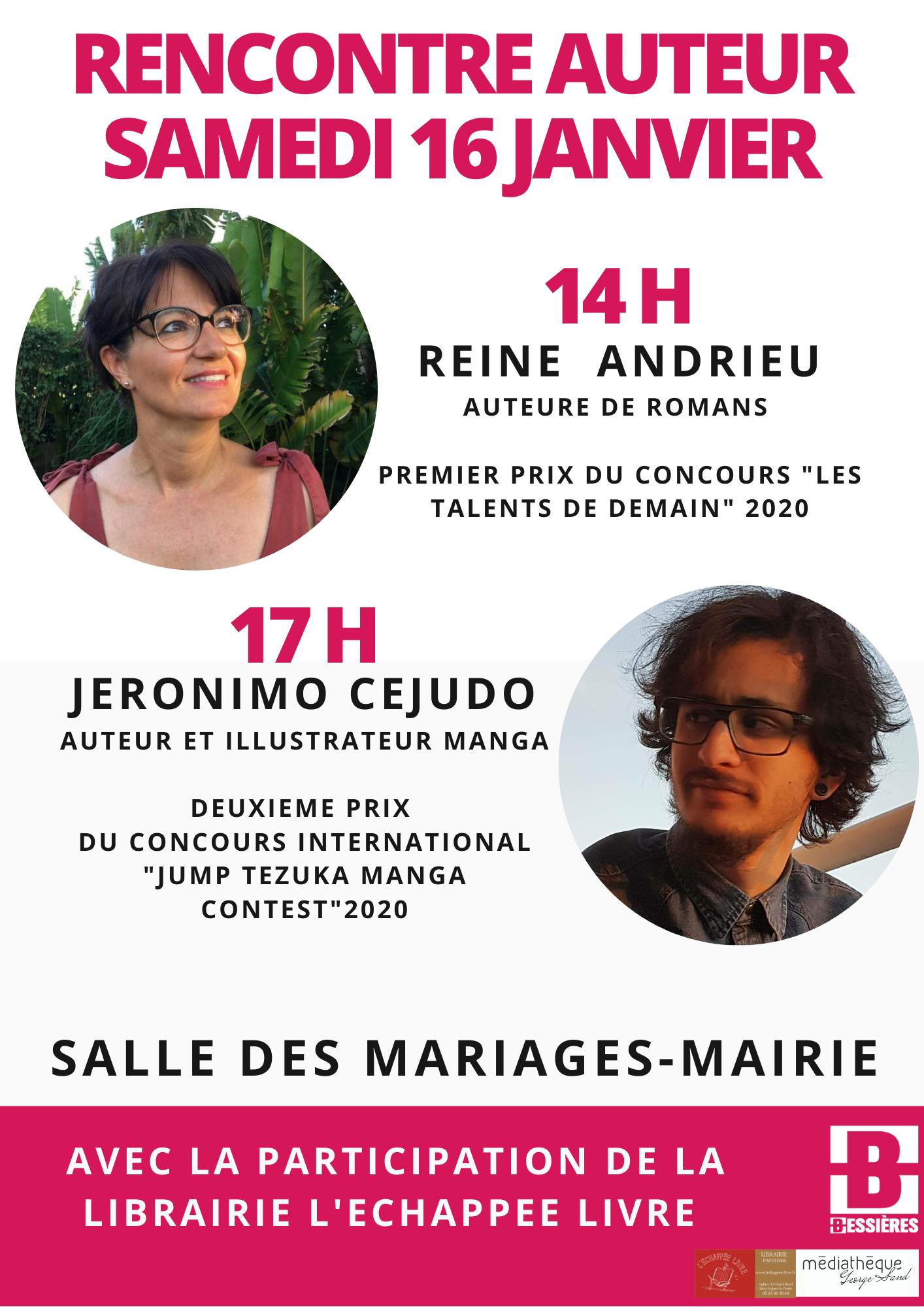 MÉDIATHÈQUE – RENCONTRE DÉDICACE : REINE ANDRIEU ET JERONIMO CEJUDO