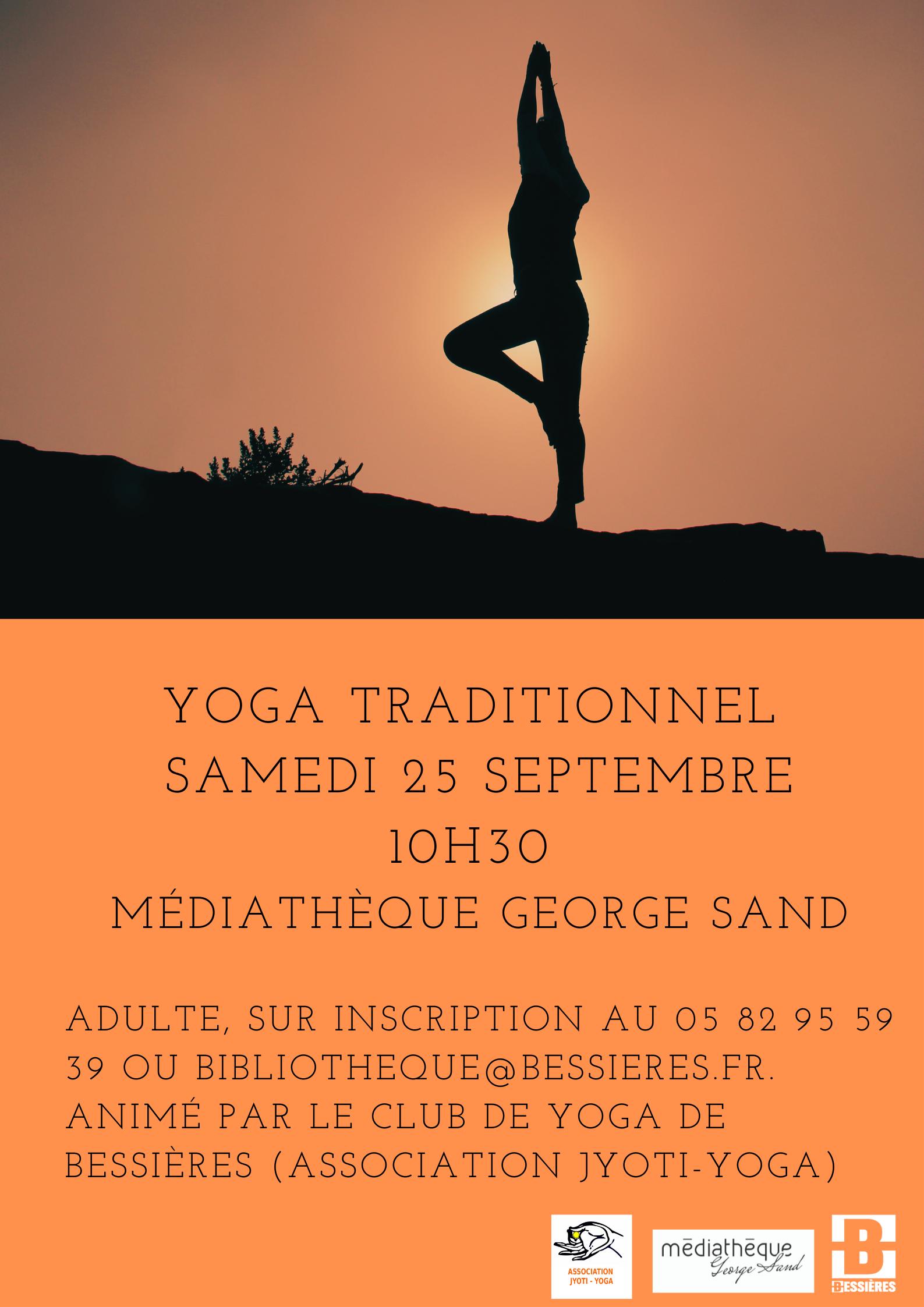 Yoga traditionnel samedi 25 septembre à 10h30